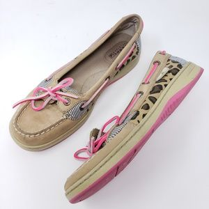 Sperry Top Sider Boat Shoes Tan Pink Animal Print